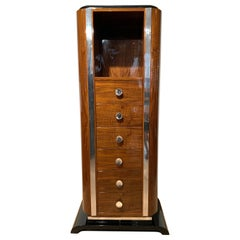 Art Deco Chiffonier or High Chest with Six Drawers, Walnut, France, circa 1930