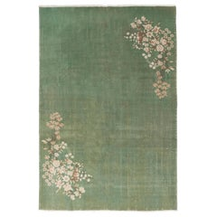 7x10.4 Ft Art Deco Chinese Design Rug in Plain Soft Green