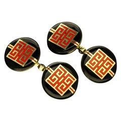 Cartier Art Deco Chinese Dragon Symbol Gold and Enamel Cufflinks circa 1930s