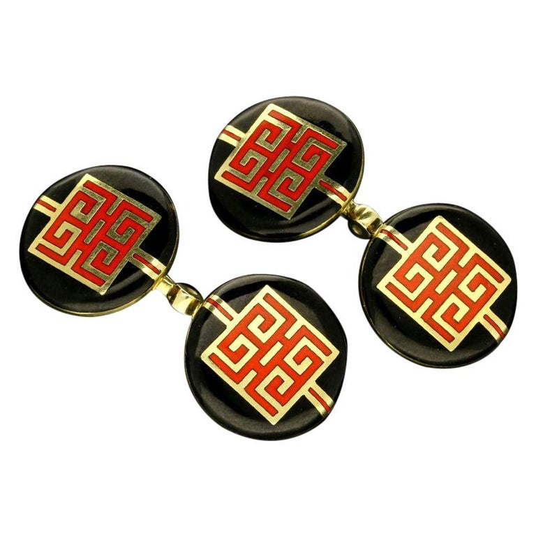 Cartier Art Deco Chinese Dragon Symbol Gold and Enamel Cufflinks circa 1930s For Sale