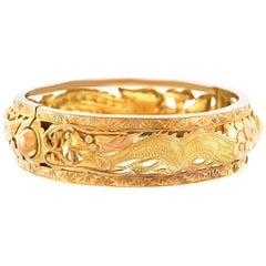 Art Deco Chinese Export Gold Dragon Bangle