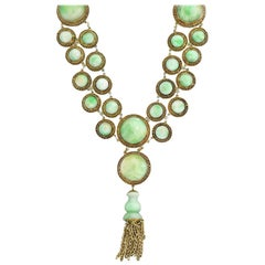Art Deco Chinese Jade Link and Tassel Pendant Necklace