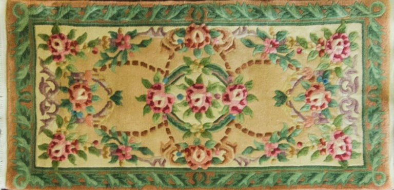 This wonderful Art Deco carpet was made in China, circa 1900s or 1940s. Walter Nichols was great American rug producer (the Art Deco rugs which he did not originate them) in Tientsin. The rugs made of wool and silk with bold vibrant colors and the