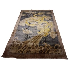 Art Deco Chinese Silk Fire Breathing Dragon Hand Knotted Rug