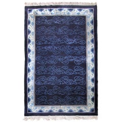 Art Deco Chinese Silk Rug Blue Peking