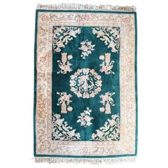 Art Deco Chinoiserie Chinese Rug in Emerald Green and Pink att Nichols, 1930s
