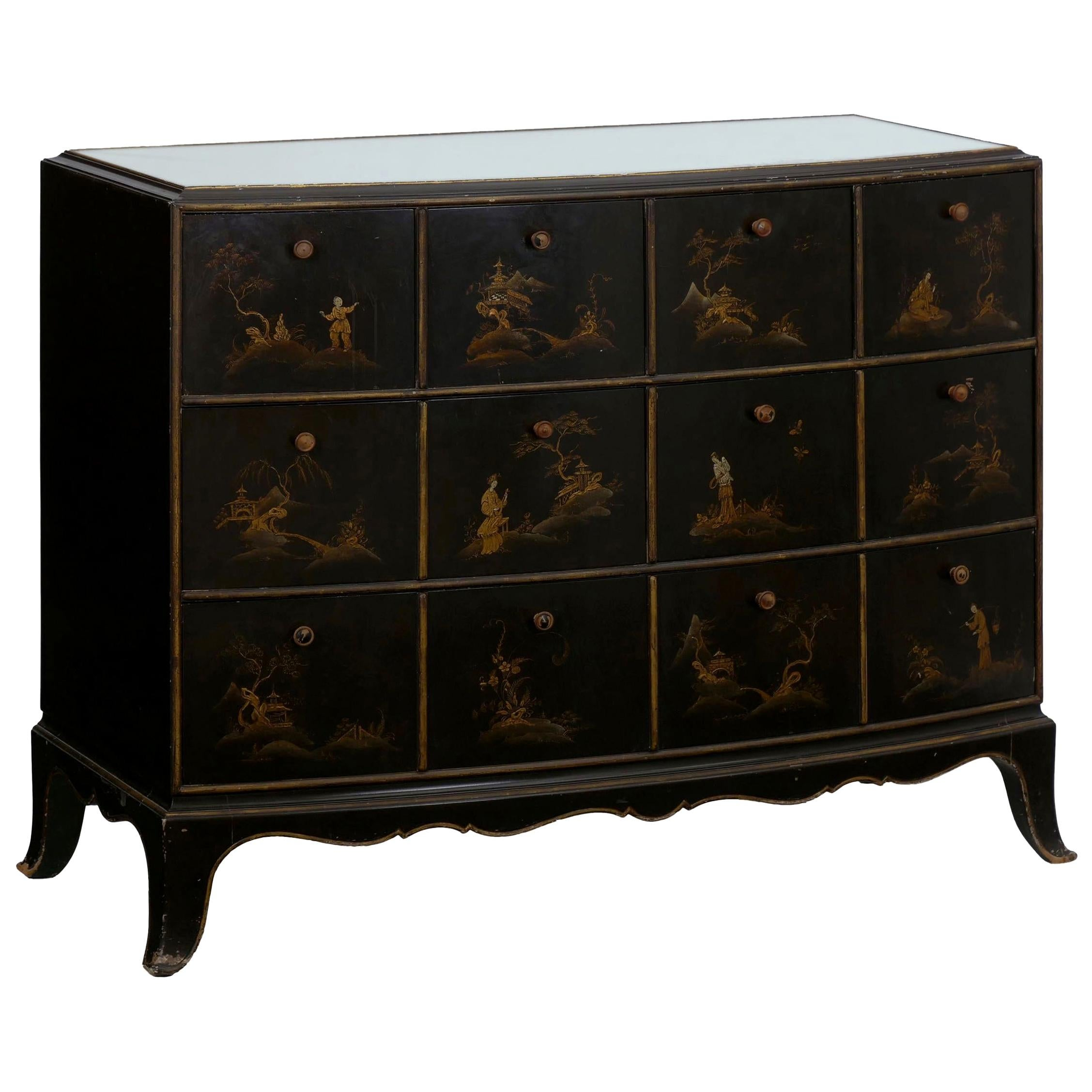 Art Deco Chinoiserie Mirrored Top Chest of Drawers Dresser, circa 1940s