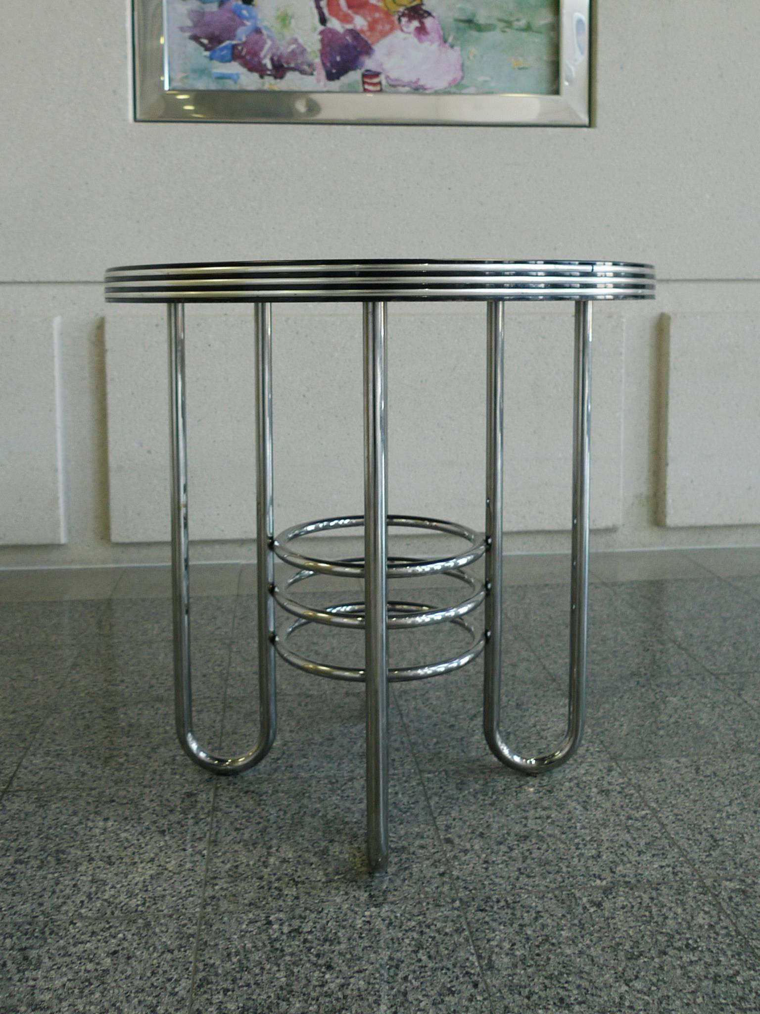 Art Deco Chrome And Black Glass Occasional Table In The
