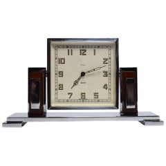 Art Deco Chrome and Bakelite Eight Day Clock