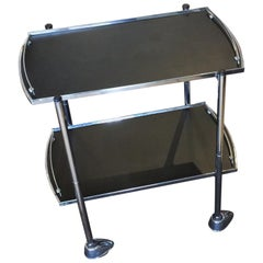 Art Deco Chrome and Black Bar Cart Auto Trolley
