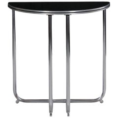 Art Deco Chrome and Black Lacquer Demilune Side Table by Royalchrome circa 1930s