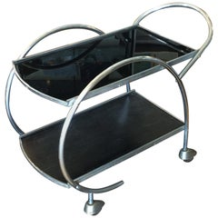 Art Deco Chrome and Black Vitrolite Glass Bar Cart or Auto Trolley