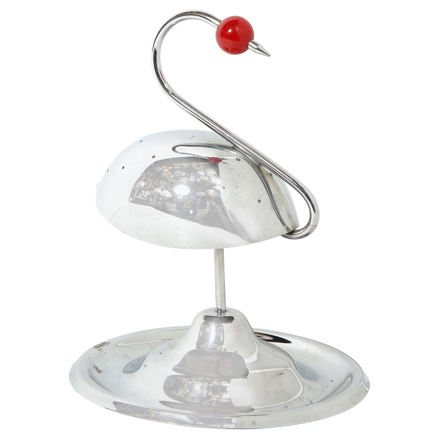 Art Deco Chrome and Carnelian Bakelite Stylized Swan Cocktail Holder by Napier