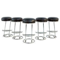Art Deco Chrome and Leather Bar Stools, Set of 5