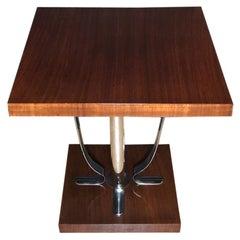 Art Deco Chrome and Mahogany Side Table