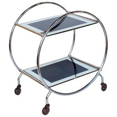 Art Deco Chrome and Mirrored Glass Drinks Trolley
