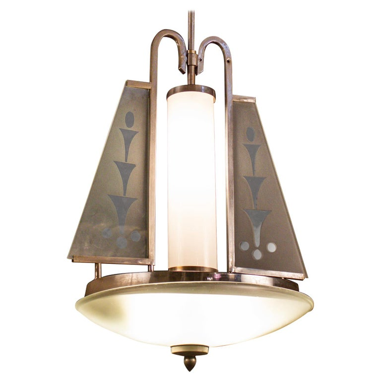 Art Deco Chrome and Murano Glass Chandelier Pietro Chiesa Fontana Arte Attr. For Sale 4