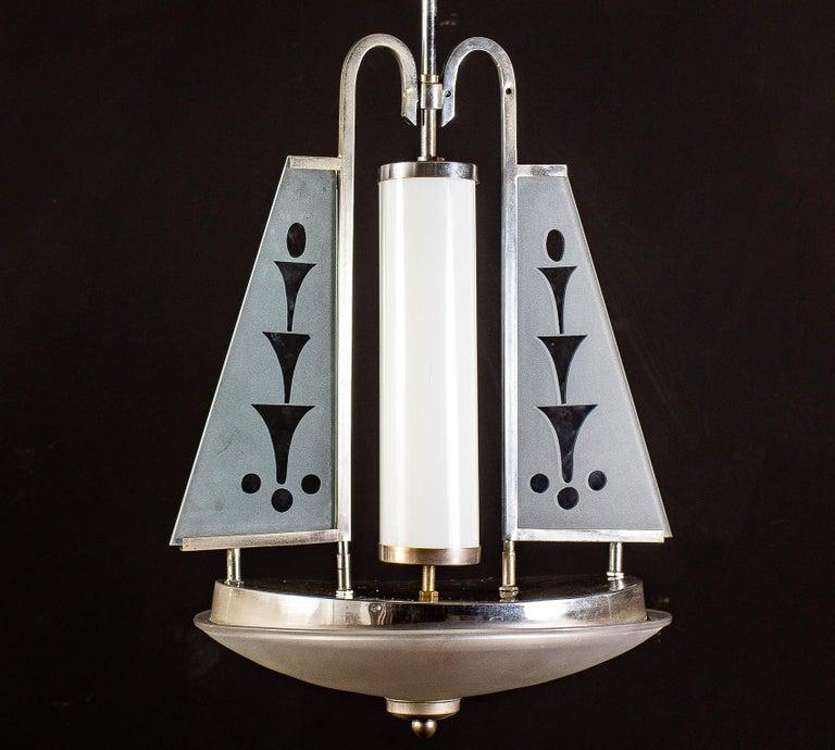 Art Deco Chrome and Murano Glass Chandelier Pietro Chiesa Fontana Arte Attr. For Sale 6