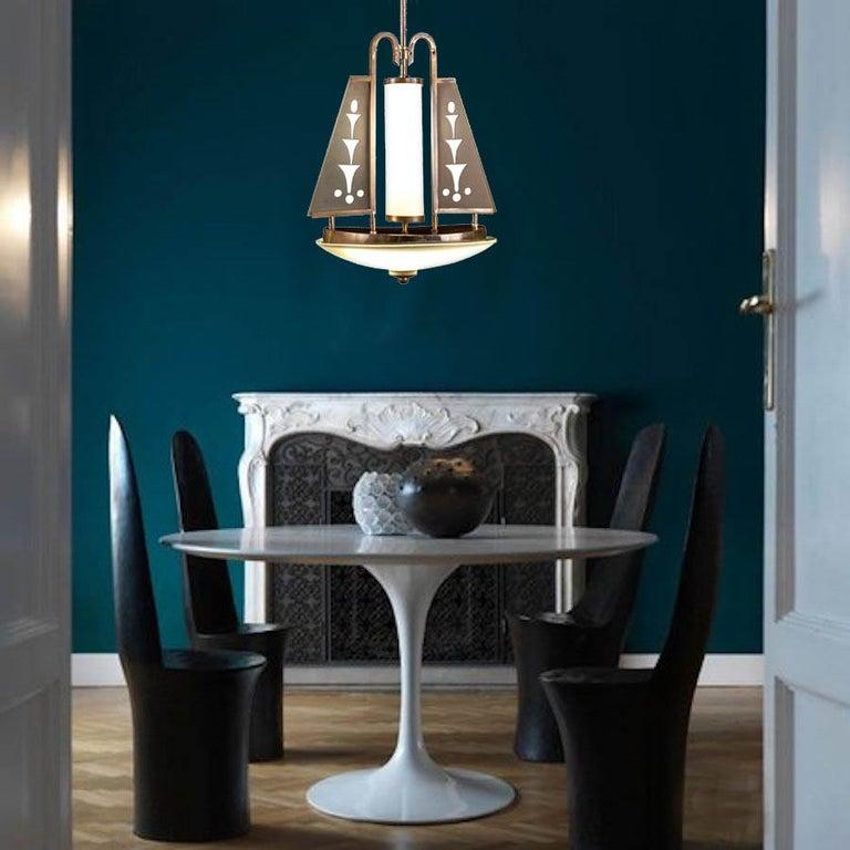 Art Deco Chrome and Murano Glass Chandelier Pietro Chiesa Fontana Arte Attr. For Sale 7