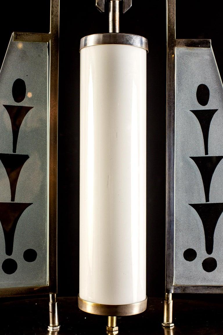 Mid-Century Modern Art Deco Chrome and Murano Glass Chandelier Pietro Chiesa Fontana Arte Attr. For Sale