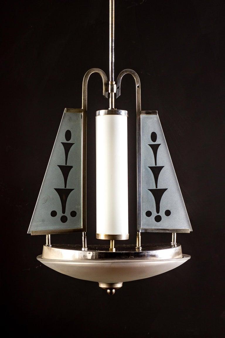 Italian Art Deco Chrome and Murano Glass Chandelier Pietro Chiesa Fontana Arte Attr. For Sale