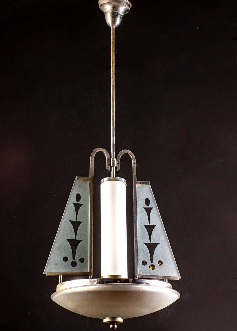 Art Deco Chrome and Murano Glass Chandelier Pietro Chiesa Fontana Arte Attr. For Sale 2