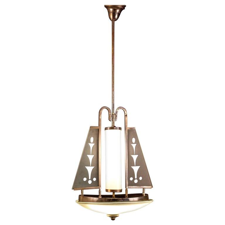 Art Deco Chrome and Murano Glass Chandelier Pietro Chiesa Fontana Arte Attr. For Sale 3