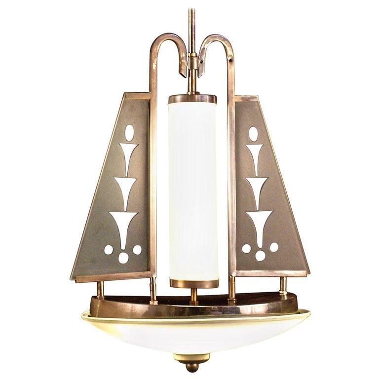 Art Deco Chrome and Murano Glass Chandelier Pietro Chiesa Fontana Arte Attr. For Sale