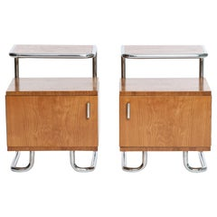 Art Deco Chrome and Tubular Steel Sideboards from Kovona, Set of 2