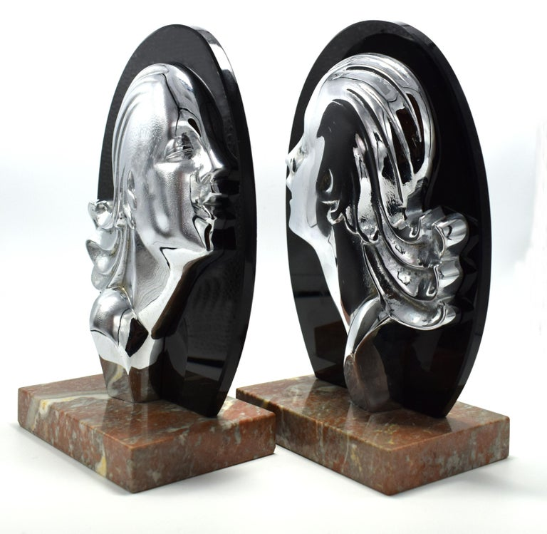 20th Century Art Deco Chrome and Vitrolite Bookends, circa 1930 For Sale