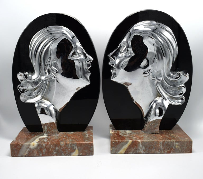 Art Deco Chrome and Vitrolite Bookends, circa 1930 For Sale 2