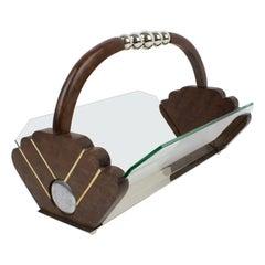 Art Deco Chrome and Wood Centerpiece Bowl Basket