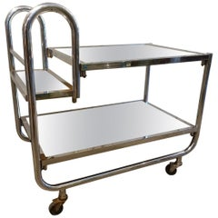 Art Deco Chrome Bar Cart-Jacques Adnet