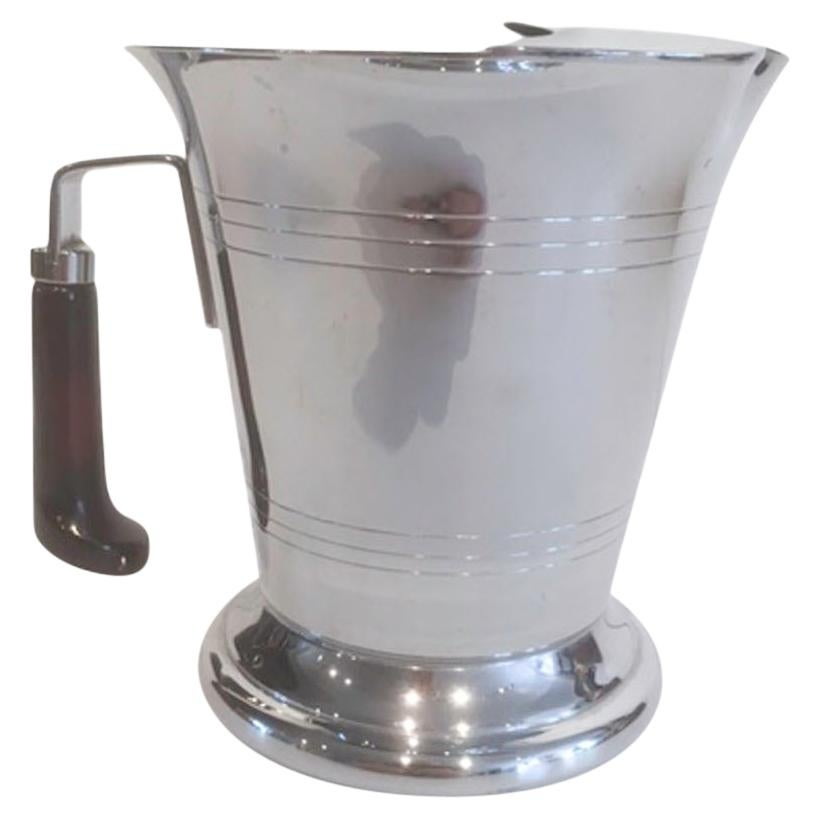 Art Deco Chrome Bar Pitcher with Ice Dam and Red Bakelite Handle by Glo-Hill
