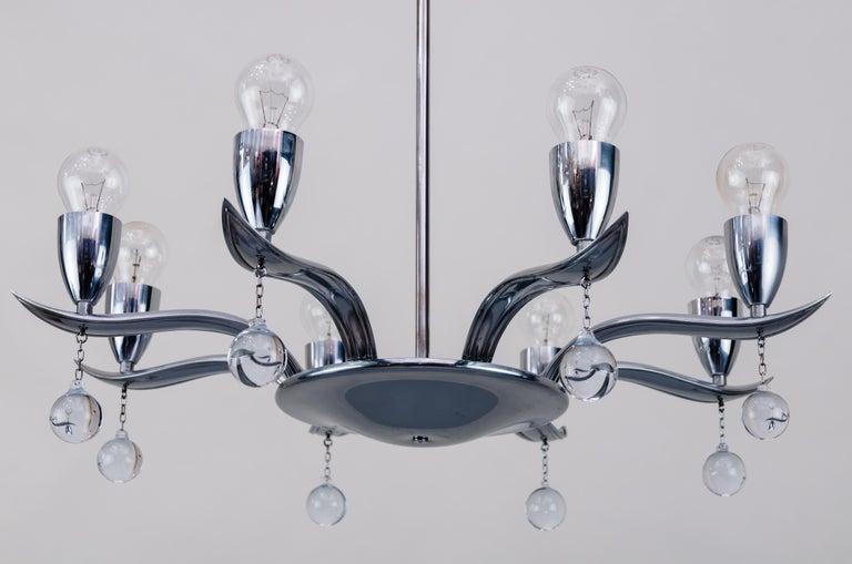 Art Deco chrome chandelier, circa 1930s Original condition.