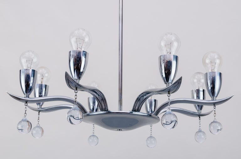 Art Deco Chrome Chandelier, circa 1930s In Good Condition For Sale In Wien, AT