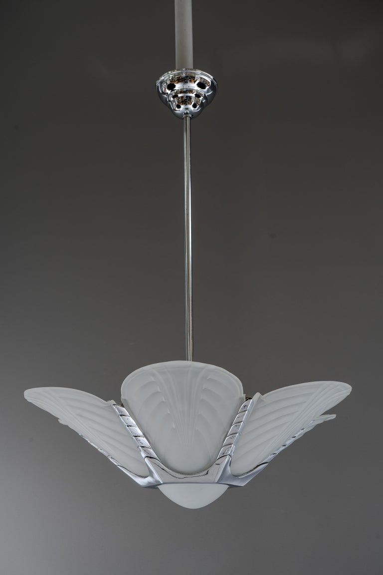 Art Deco chrome chandelier, France, circa 1920s