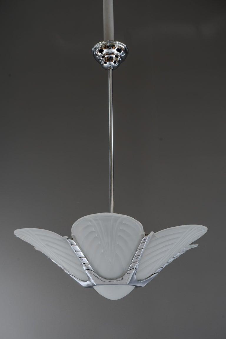 Art Deco chrome chandelier, France, circa 1920s Original condition.