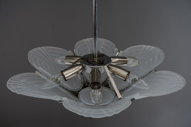 Early 20th Century Art Deco Chrome Chandelier, France, circa 1920s For Sale