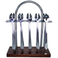 Art Deco Chrome Cocktail fork Set, circa 1930
