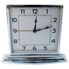 Art Deco Chrome Desk Clock, 1930s