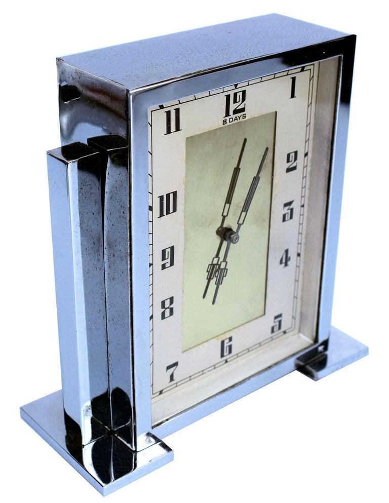 20th Century Art Deco Chrome English Mantle Clock, 8 Day, circa 1930 For Sale