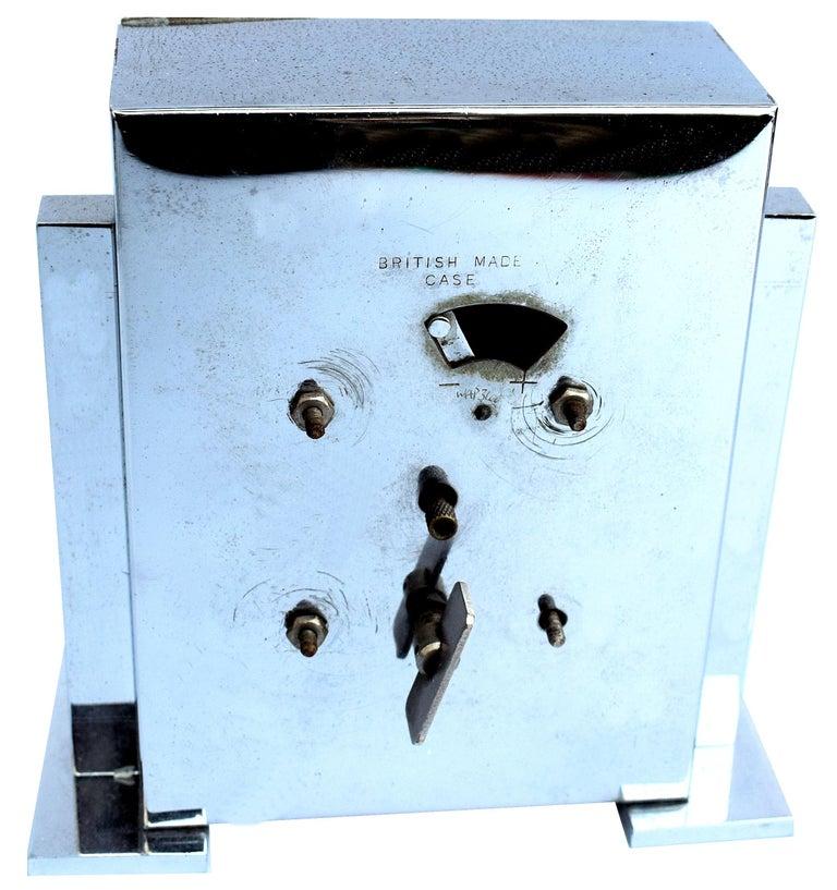 Steel Art Deco Chrome English Mantle Clock, 8 Day, circa 1930 For Sale