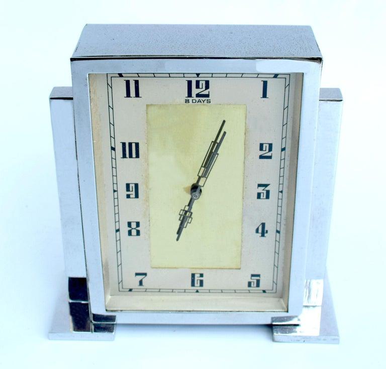 Art Deco Chrome English Mantle Clock, 8 Day, circa 1930 For Sale 1