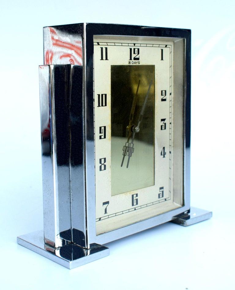 Art Deco Chrome English Mantle Clock, 8 Day, circa 1930 For Sale 2