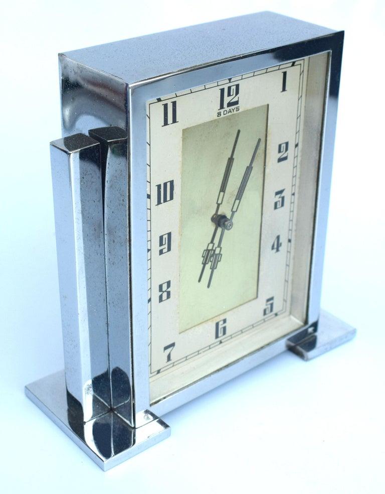 Art Deco Chrome English Mantle Clock, 8 Day, circa 1930 For Sale 3