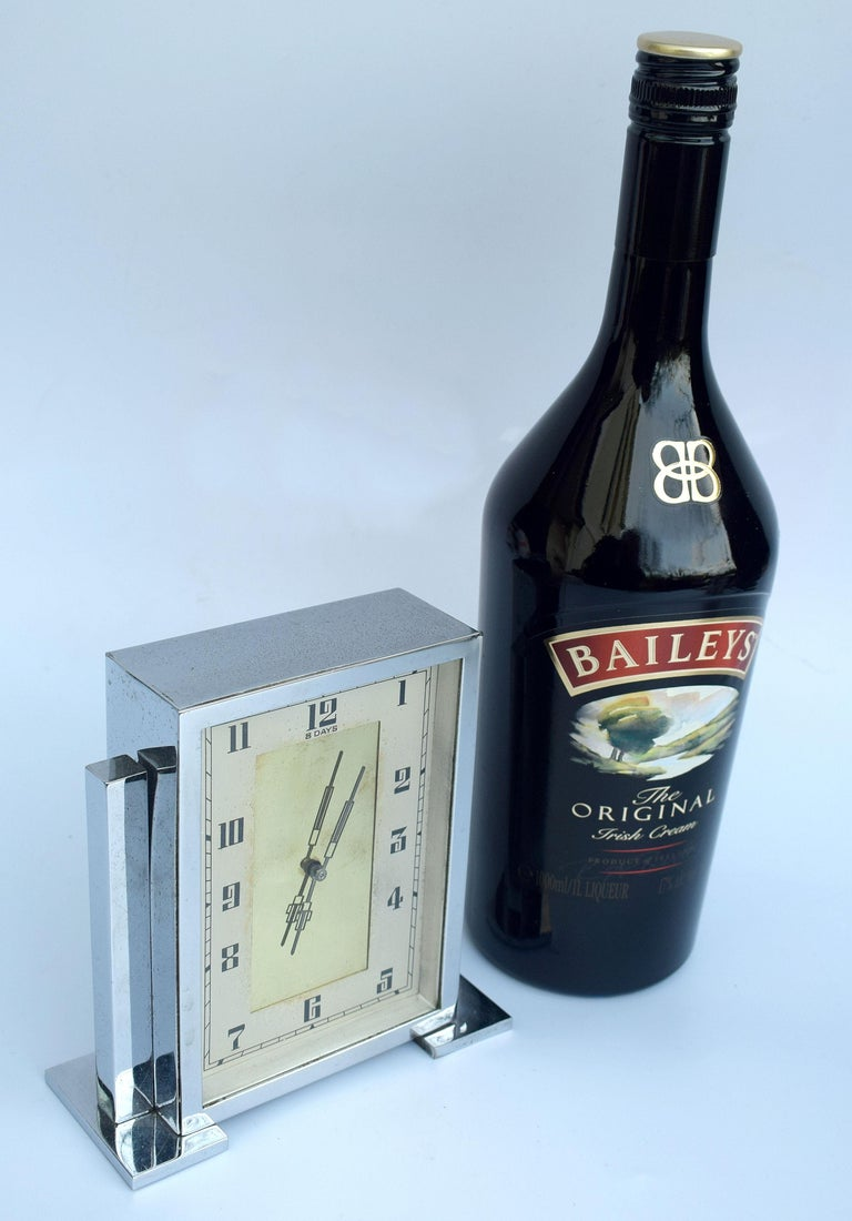 Art Deco Chrome English Mantle Clock, 8 Day, circa 1930 For Sale 4
