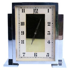 Art Deco Chrome English Mantle Clock, 8 Day, circa 1930