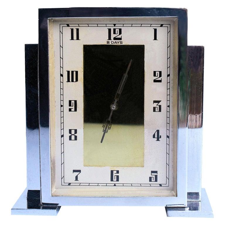 Art Deco Chrome English Mantle Clock, 8 Day, circa 1930 For Sale