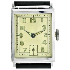 Art Deco Chrome Gents Wristwatch Old Stock, Never Worn, Newly Serviced, 1930